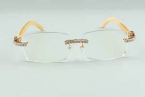 2021 new style high-end designers endlesses diamonds glasses 3524012 natural white buffalo horns glasses frame, size: 36-18-140mm