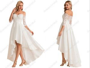 Elegant A line Off the shoulder High Low Wedding dresses 2021 Cheap Hi Low with Sleeves Satin Wedding Dress Bridal Gowns Cheap Custom Made