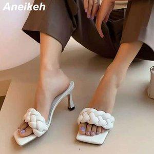 Sandalet Aneikeh 2021 Kare Toe Örgü Kadınlar Ince Yüksek Topuk Moda Yaz Terlik Üzerinde Kayma Parti Elbise Bayanlar Ayakkabı Boyutu 42