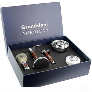Men Luxury Shaving Gift Set Kit Double Edge Safety Razor Badger Hair Shaving Brush Holder Stand Shaving Mug Bowl Soap Cream J190718