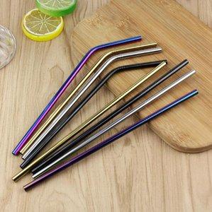 Palhas de aço inoxidável Curvatura colorida Straight Palhas de suco reutilizável canudos de verão chá café ferramentas 215 * 6mm lqpyw1015