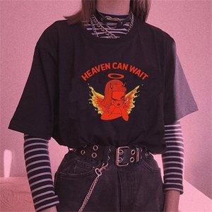 Kuakuayu HJN Cute Angel Cherub T Shirt Heaven Can Wait Angel Print Women Tshirt Cotton Casual Funny T Shirt Lady Yong Girl Top 210306