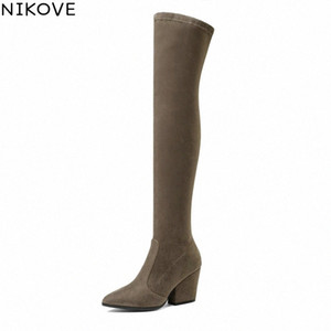 NIKOVE 2019 Women Boots Sexy Pointed Toe Spring Autumn Over The Knee Boots Stretch Fabrics Fashion High Heels Shoes Size 34 43 Shoe Sa y77T#