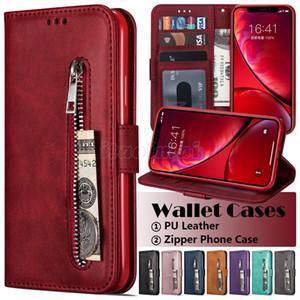Zipper Wallet Teléfono Funda para iPhone 12 Mini 11 Pro X XR XS MAX 7 8 PLUS SAMSUNG GALAXY S20 Ultra Calfskin Texture PU CUBIERTA DE CUBIERTA DE CUERO DE CUERO DE LA PU