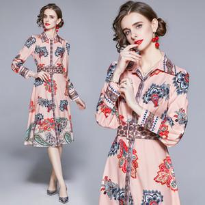 New Arrival Shirt Dress High-end Womens Spring Autumn Printed Dress Long Sleeve Temperament Elegant Lady Fashion Dresses Runway Dresses
