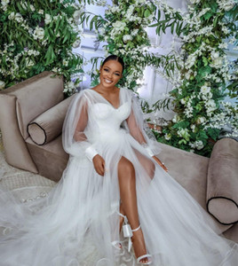 New Arrival Cheap Beach Romantic A-line Wedding Dresses Deep V Neck Tulle Plus Size Long Sleeves Pears High Split Tulle Boho Bridal Gowns