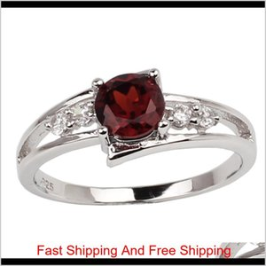Real Red Garnet Solid Sterling Silver Ring 925 Stampe Women Jewelry 6Mm Crystal Wedding Band January Birthday Birthstone R016Rgn Tm01Y B2Bar