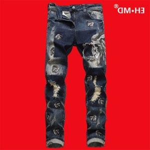 Ehmd Indian Crânio Múltiplas Calças de Jeans Bordadas Masculinas Calças High Street Soft Ears Vermelho Azul Slim 2021 Algodão de Estilo Ocidental