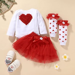 3d Flower Heart+tutu Skirt+long Baby Sock Set Children Boutique Clothing 0-2t Kids Toddler Girls Party Festival Outfits