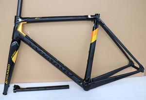 Gold Colnago C64 Cadre de Vélo Route Cadre Carbon Colnago Carbon Guidon Colnago Cages Bouteille Bob 50mm Roues de carbone