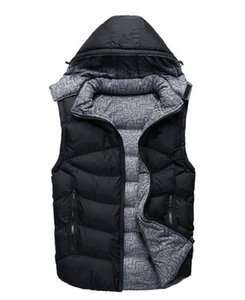 New autumn and winter men's down cotton casual vest youth loose two-sided cardigan hooded jacket vest