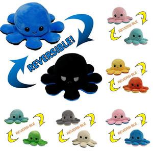 2021 Последние новые обратимые восьминоги плюшевые игрушки 10 * 20 см Фаршированные животные Милые перевернутыми осьминог кукла Двухстороннее выражение Осьминог FY7309