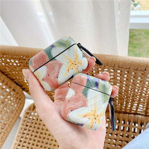 Luxury Flower Painting Case For Airpods Cover Cute Cartoon stripe Headphones Case Box For airpod pro 2 1 Silicone Earphone Funda