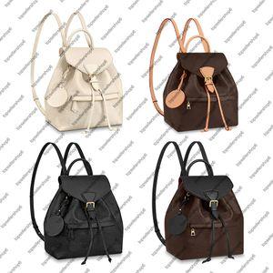 M45205 M45515 Montsouris PM 우아한 여성 정품 소 가죽 가죽 Emobss 캔버스 버클 백팩 Satchel Purse Shoulder Bag