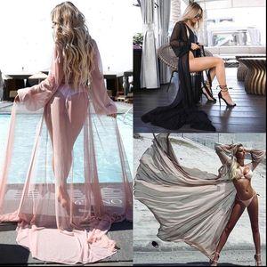 Hot Women Chiffon White See through Bikini Cover Up Swimsuit Swimwear Beach Shirt Anklet Length Sexy Beach Bathing Suit 2021 Hot