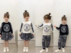 Designer Kids letter sport printed sets children long sleeve sweatshirt+letter casual pants skirts 2pcs boys girls fall outfits A7832