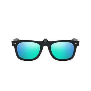02 Uanview (Uanview Clip Redondo Red Red Round Gafas de sol Sunglass Polarizadas Brillantes Myopia Clip Night Vision Gafas WD2140
