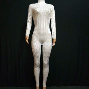 Fashion White Pearls Bodycon Jumpsuit Stretch Leggings Women Sexy Nightclub Party Outfit Female Long Sleeve Bodysuit Stage Wear