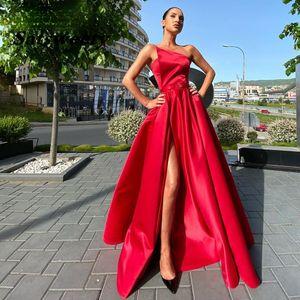 Elegant Strapless Evening Dresses A Line Side Slit Satin Prom Dress Special Wrap Party Gowns Abiti Da Cerimonia