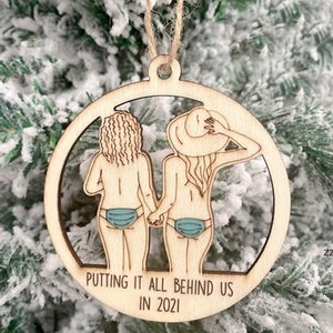 European and American Hot-selling 2021 Christmas tree Decorations Pendant Wooden Hollow Couple Snowman Decor Ornaments HWD10119