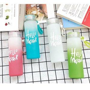 Pas de mots! 400 ml Bouteille de verre de gradient de 400 ml bouteille d'eau de verre dépoli sans mots Contactez-nous une bouteille de tasse en verre coloré bouteille vierge bricolage beau lunettes LLA486