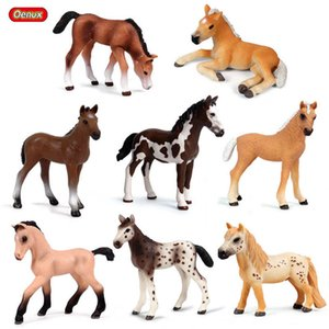 OENUX Forest Original Steed Steed Farm Animal Modelo Modelo Modelo Figuras Classic American Clydesdale Horse PVC Figurines Toy Kid C0225
