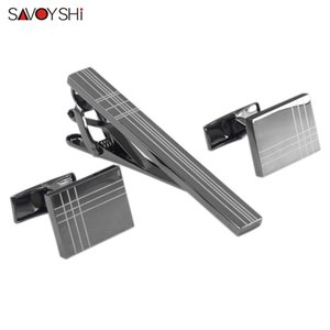 SAVOYSHI Classic Square Black Laser Stripe Bussiness Mens Cufflinks Tie Clips Set High Quality Necktie Pin Tie Bars Clip Clasp L0310