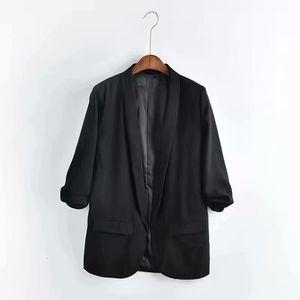 New 2021 Leisure Women Loose Suit Jacket Solid Color Plus Size Ladies Blazer Pleated Sleeve Tl1p