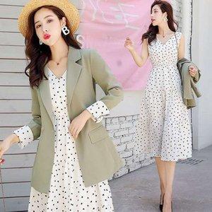 2021 летние элегантные женщины офис работы тонкой моды блейзер фитинговая куртка + длина колена в горошек платье 2 шт.