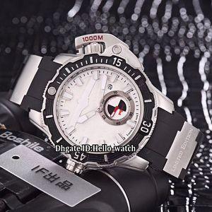 Otomatik Yeni 46mm Saatler Deniz Dalgıç Spor Siyah Kayış Mens Durumda Ucuz Gümüş Kauçuk İzle Dial 3203-500LE-3/93-Hammer Getns
