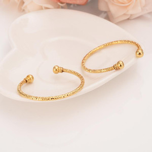 small lovely gold Dubai Africa Bangle Arab Jewelry Gold Charm girls India anklet Bracelet Jewelry For Kids baby birthday Gift1