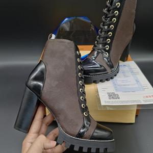 Star Trail Ankle Boot de lujo para mujer diseñador Chunky Tacón de tacón Botas de lujo Diseñador de lujo Encaje Up Martin Boots Ladys Fashion Botines de invierno 9.5cm