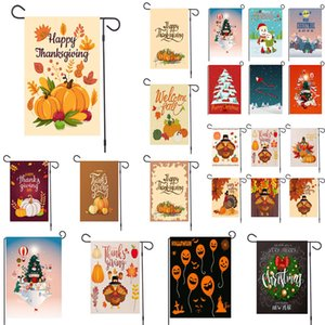 New Christmas garden flag Christmas pattern Halloween pumpkin flag printing linen banner garden outdoor decoration 30 styles w-00159