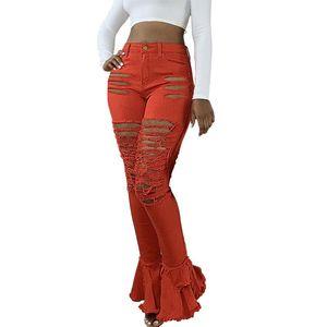 Vintage Women Trousers Fashion Jeans High Waist Jeans Fringed Hole Classic Multicolor Denim Flare Pants Orange Skinny Jeans#LR3