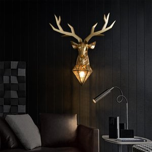 Wall Lamps French Country Art Gold Lamp American Retro Deer Light Bedroom Living Room Decoration Antler Lights For Home