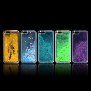 2021 Venta caliente Silicone Transparente Fluorescente Quicksand Funda de teléfono móvil anti-scratch para iPhone 11 12 Funda