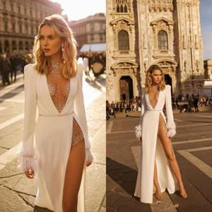 2021 Berta Wedding Dresses High Collar Long Sleeve Rhinestones Tulle High Side Split Wedding Gowns Custom Made Feather Beach Bridal Dress