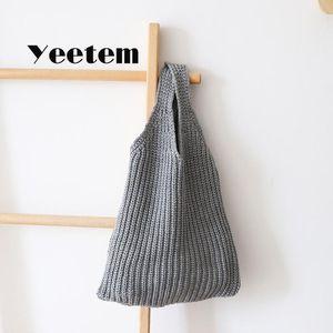 Bolsa de agulha cor pura mão-tricotada lã bolsa de pulso quente inverno versão coreana de malha tecida bolsa simples