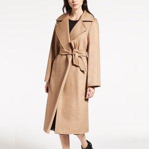 패션 우아한 레이디 울 코트 벨트 옷깃 목 긴 소매 여성 가을 겨울 캐시미어 코트 플러스 사이즈 XL