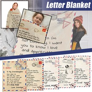 Flannel Envelope Blanket Letter 3D Printed Envelopes Love Warm Quilts Mother Father To Daughter Son Wife Wrap Family Blankets & RRD11119
