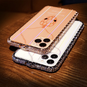Flash Diamond Snake Schnalle Rahmen Telefon Fall für iPhone 11 Pro XS MAX X XR 8 plus gehärtetes Film Back Cover Case Fundas