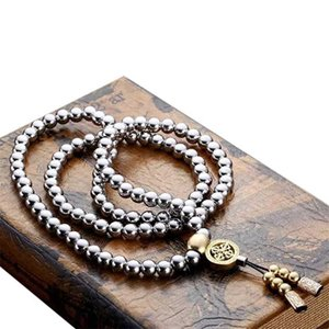 Prayer Casual Gift Outdoor Accessories Bracelet Portable Stainless Steel Buddha Beads Necklace Fashion Self Defense Arts Weapon Y200730