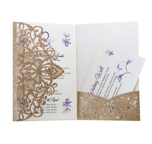 Personalized Wedding Invitation Cards Full Set Laser Cut Hollowed-out Pocket Greeting Cards For Engagement Birthday Party Wedding OOD5513