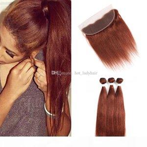 Virgin Malaysian Dark Auburn Human Hair Bundles with Lace Frontal Closure Silky Straight Color 33 Auburn Brown Hair Weave with Frontal