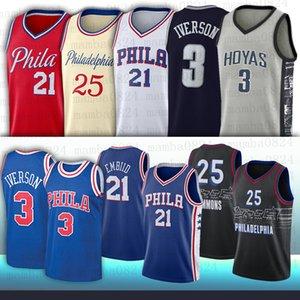 21 Joel 25 Ben Embiid 3 Allen Simmons Iverson 12 Tobias Harris Homens NCAA Jerseys de basquete