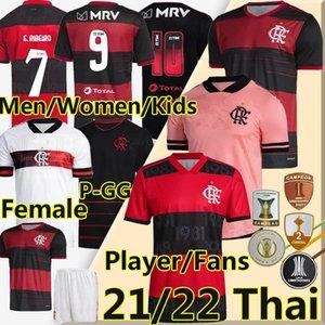 Nuevo Camiseta 2021 2022 Flamengo Soccer Jerseys Rosa Gabriel B.Henrique de Arrascaeta Camisa de Fútbol Diego E.Ribeiro Gerson Hombres Mujeres Niños Kits Camisetas de Fútbol