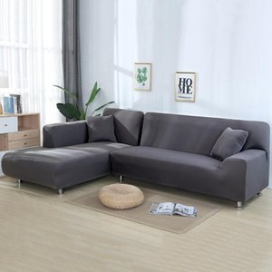 Chair Covers Grey Color Tight Wrap Sofa Cover Elastic Needs Order 2 Pieces If L-style Sectional Corner Protector