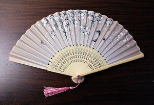 Японский стиль вентилятор шелковые вентиляторы пианы китайская живопись картина ретро вентиляторы шелковые складные удержание вентилятора 17 цветов Party Hool AHC6299