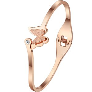 Meicialandat 2020 new Titanium steel rose gold zircon butterfly bangles minimalist fashion bracelets for women