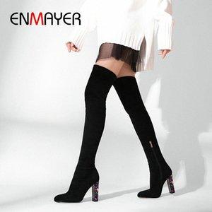 ENMAYER 2019 Sobre la rodilla Botas de invierno Las mujeres se deslizan en las botas delgadas de gamuza Faux Toe Round Toe Basic Square Heel Mujer zapatos 34 41 Zapatos sexy B H0i2 #